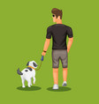 man walk with dog in outdoor park vector image vector image