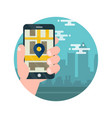 map app mobile phone with map and big city vector image