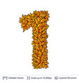 number one of autumn leaves vector image
