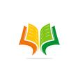 open book learn education logo vector image vector image