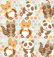 Polka dot background pattern Funny cute raccoon vector image vector image
