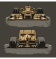 Racing car front and back view vector image
