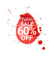 red easter sale sticker egg with paint splash vector image vector image