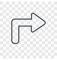 right curve concept linear icon isolated on vector image