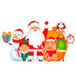 santa claus pig deer snowman and elf vector image