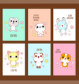 set cute valentines day stickers with animals vector image vector image