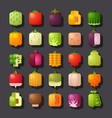 square shaped vegetables icon set vector image vector image