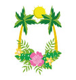 tropical palm trees cartoon vector image