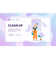 woman washes window in house cleaning home daily vector image vector image