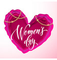 womens day text on pink paper cut heart vector image