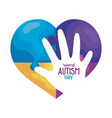 world autism day with heart and hand vector image vector image