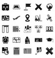 world globalization icons set simple style vector image