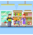 Young parents with baby toddler in supermarket vector image vector image