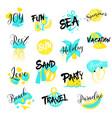 summer vacations hand drawn logo set sea holidays vector image