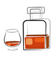 a glass of whiskey and a bottle hand drawn drink vector image