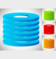 abstract cylinder barrel icon in 3 color stacked vector image vector image
