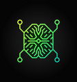 ai digital brain outline green icon or vector image vector image