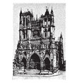 ameins cathedral view from the front vintage vector image vector image