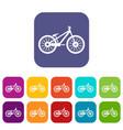 bike icons set vector image vector image