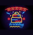 birthday cake neon light sign concept vector image
