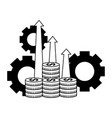 business coins money arrows profit and gears vector image vector image