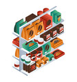 candy food shelf icon isometric style vector image