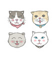 cartoon cat faces set hand drawn style vector image vector image