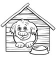 cartoon dog in doghouse coloring book page vector image vector image