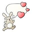 cartoon rabbit in love and speech bubble vector image vector image