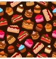 Chocolate cake and cupcake seamless pattern vector image vector image