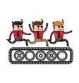 color pencil cartoon teamwork riding an belt with vector image vector image