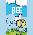 cute bee flying in forest cartoon vector image