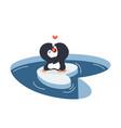 cute penguins couple hug on a piece iceberg vector image vector image