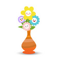 cute smiling flower in pot on white background vector image