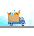 delivery man driving truck full fresh food vector image