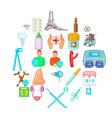disease icons set cartoon style vector image