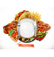 fast food logo sandwich steak chicken french vector image