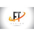 ft f t letter logo with fire flames design and vector image vector image