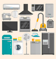 group of home appliances isolated on white vector image vector image