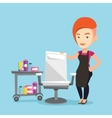 Hairdresser at workplace in barber shop vector image vector image