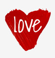 hand painted with brush isolated big red heart vector image