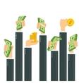hands holding money vector image vector image
