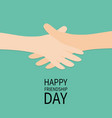 happy friendship day handshake icon hands arms vector image