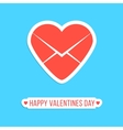 happy valentines day sticker with red heart letter vector image