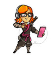 hipster girl in a ninja costume isolated vector image vector image
