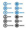 icons business card editable stroke line bule vector image