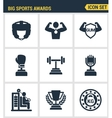 Icons set premium quality of big sports awards vector image