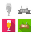 isolated object of pub and bar logo set of pub vector image vector image