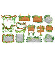 jungle wooden and stone signs tropical game ui vector image vector image