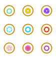 lens aperture icons set cartoon style vector image vector image